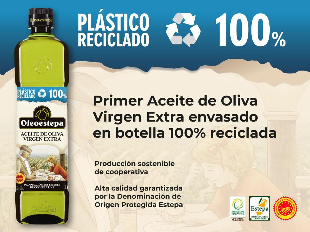 Oleoestepa lanza el primer aceite de oliva virgen extra en botella fabricada íntegramente con plástico reciclado